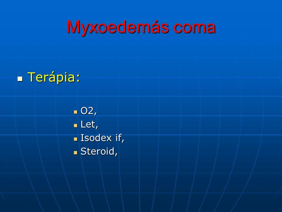 Myxoedemás coma Terápia: O2, Let, Isodex if, Steroid,