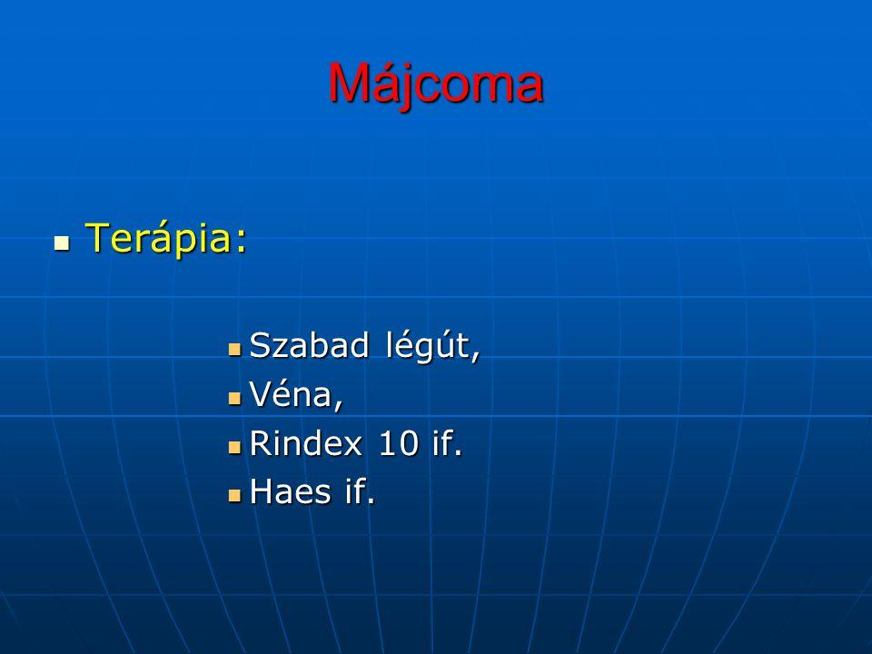 Májcoma Terápia: Szabad légút, Véna, Rindex 10 if. Haes if.