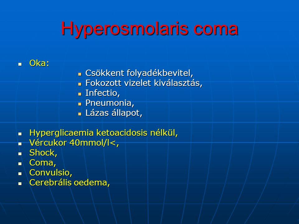 Hyperosmolaris coma Oka: Csökkent folyadékbevitel,