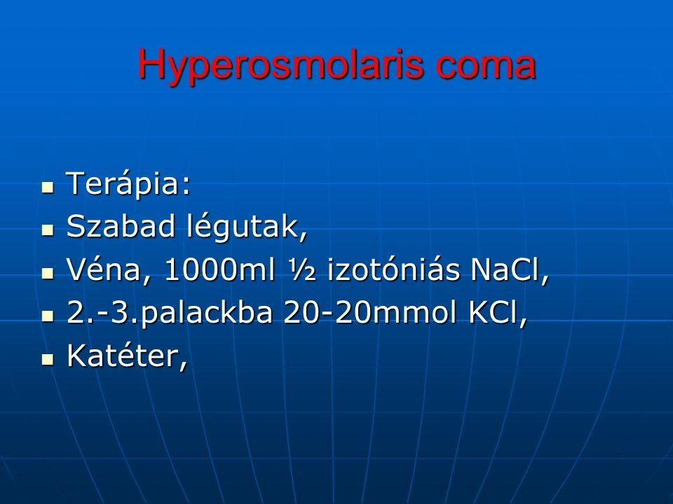 Hyperosmolaris coma Terápia: Szabad légutak,