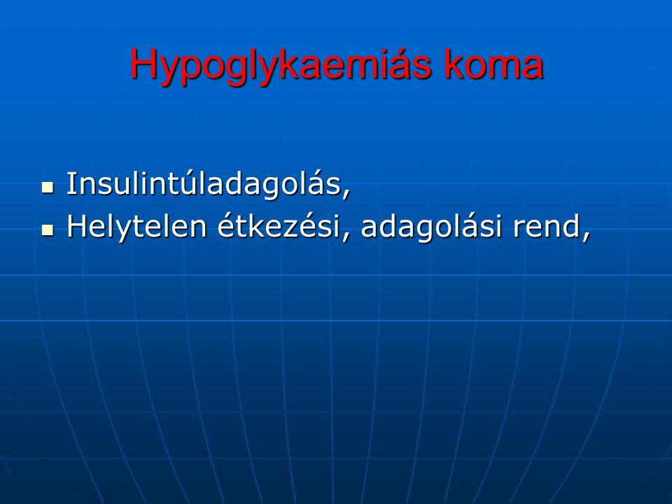 Hypoglykaemiás koma Insulintúladagolás,
