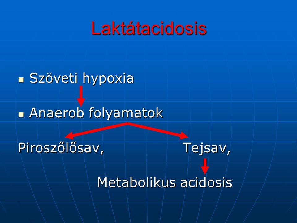 Laktátacidosis Szöveti hypoxia Anaerob folyamatok