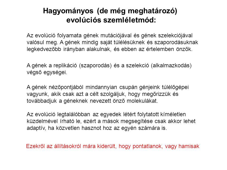 Hagyományos (de még meghatározó) evolúciós szemléletmód: