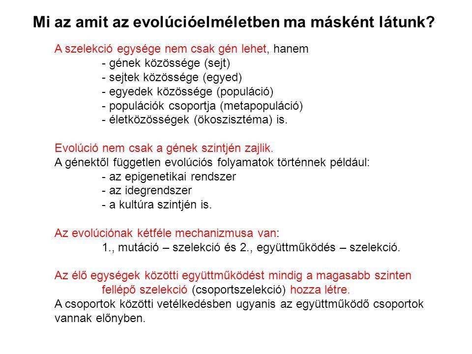 Mi az amit az evolúcióelméletben ma másként látunk