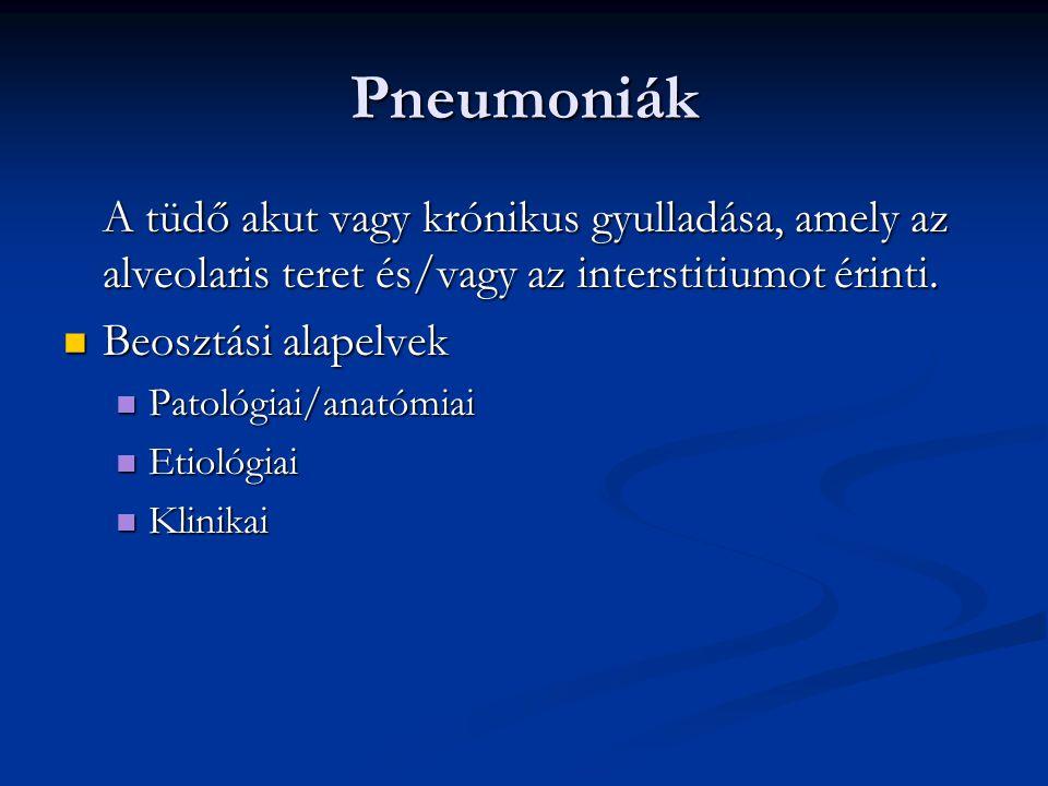 Pneumoniák A tüdő akut vagy krónikus gyulladása, amely az alveolaris teret és/vagy az interstitiumot érinti.