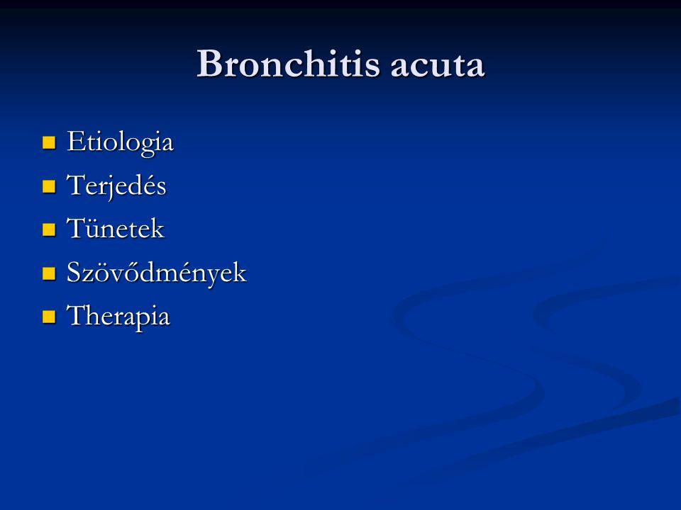Bronchitis acuta Etiologia Terjedés Tünetek Szövődmények Therapia