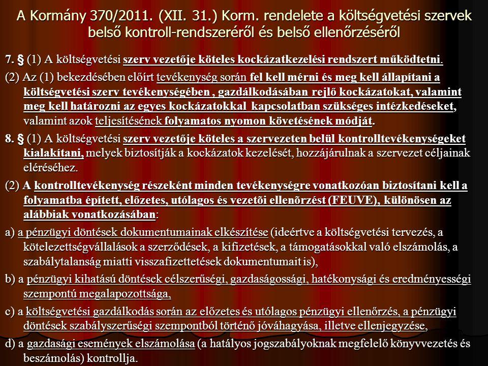 A Kormány 370/2011. (XII. 31.) Korm. rendelete a költségvetési szervek belső kontroll-rendszeréről és belső ellenőrzéséről