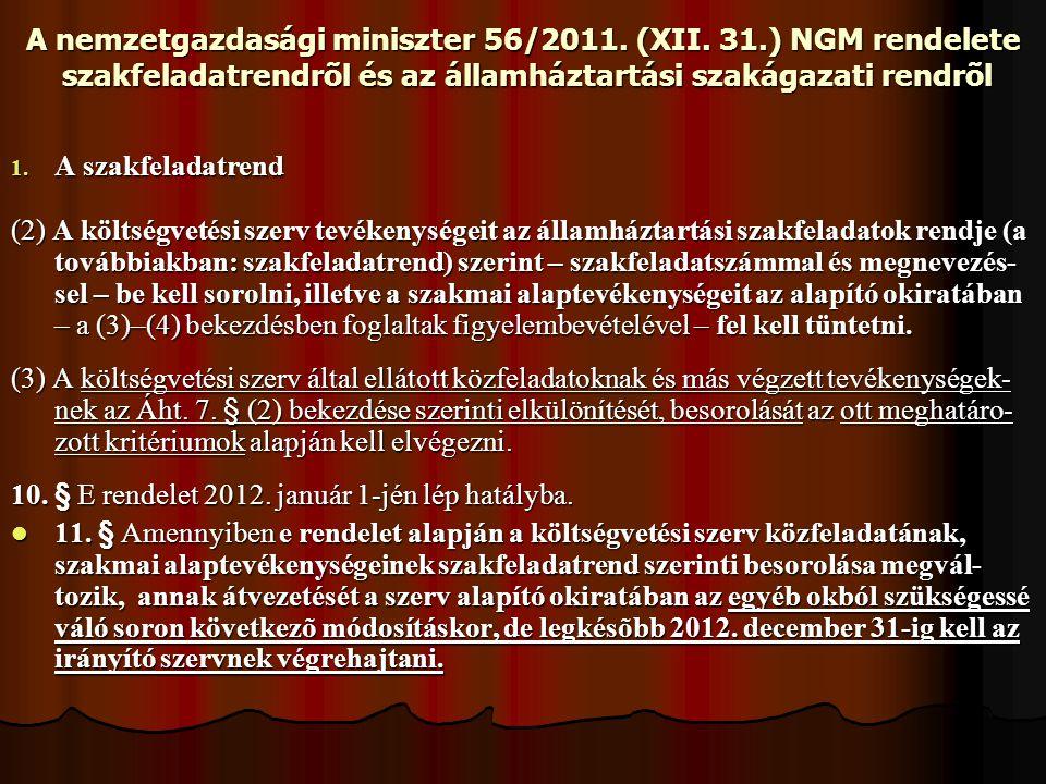 A nemzetgazdasági miniszter 56/2011. (XII. 31