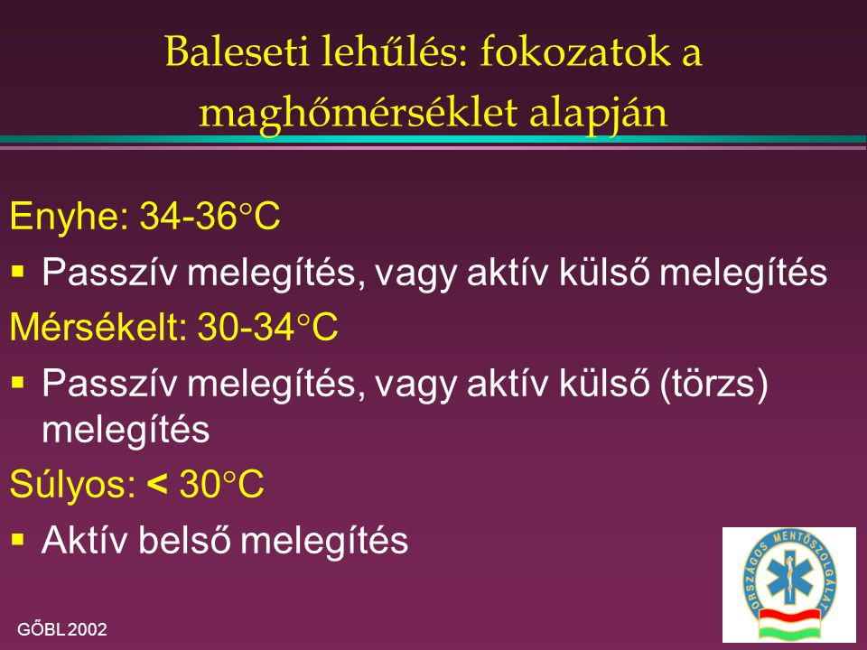Baleseti lehűlés: fokozatok a maghőmérséklet alapján