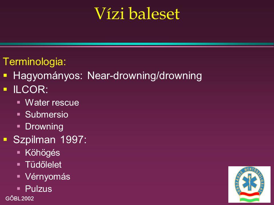 Vízi baleset Terminologia: Hagyományos: Near-drowning/drowning ILCOR: