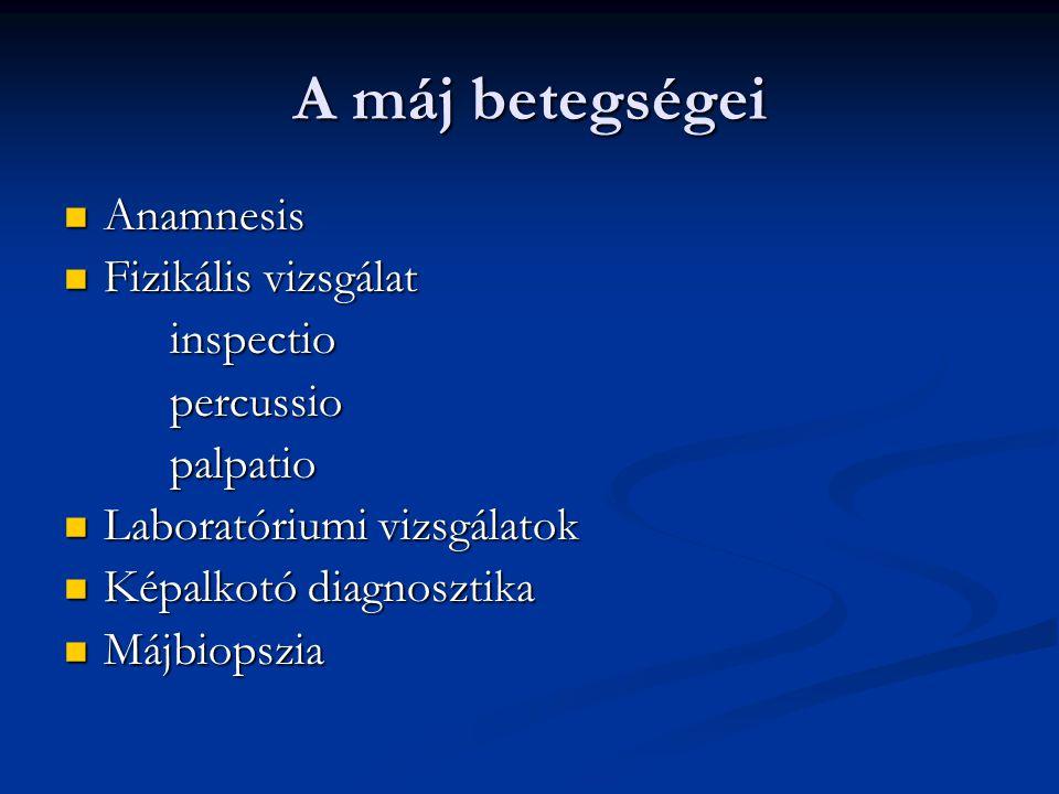 A máj betegségei Anamnesis Fizikális vizsgálat inspectio percussio