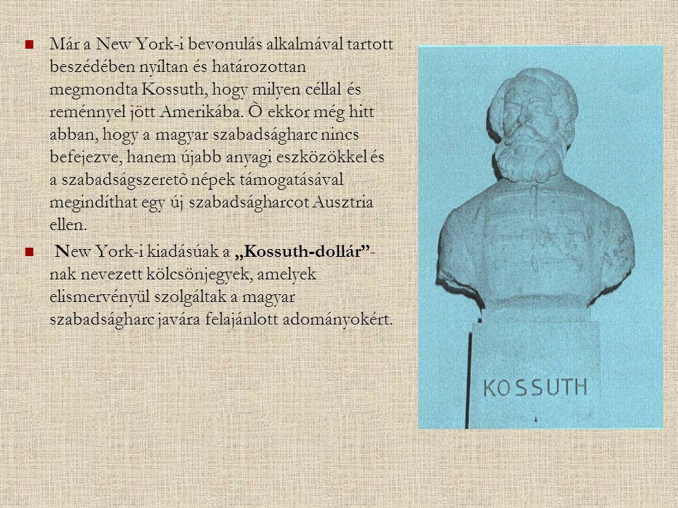 Már a New York-i bevonulás alkalmával tartott beszédében nyíltan és határozottan megmondta Kossuth, hogy milyen céllal és reménnyel jött Amerikába. Õ ekkor még hitt abban, hogy a magyar szabadságharc nincs befejezve, hanem újabb anyagi eszközökkel és a szabadságszeretõ népek támogatásával megindíthat egy új szabadságharcot Ausztria ellen.