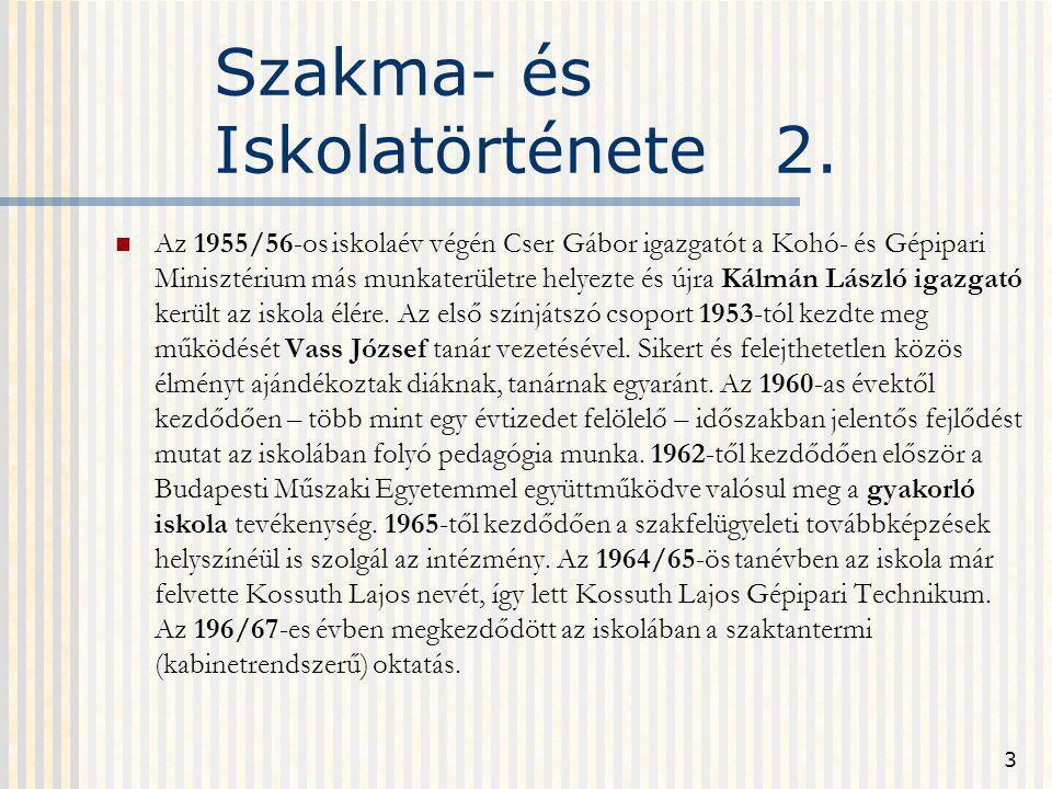 Szakma- és Iskolatörténete 2.