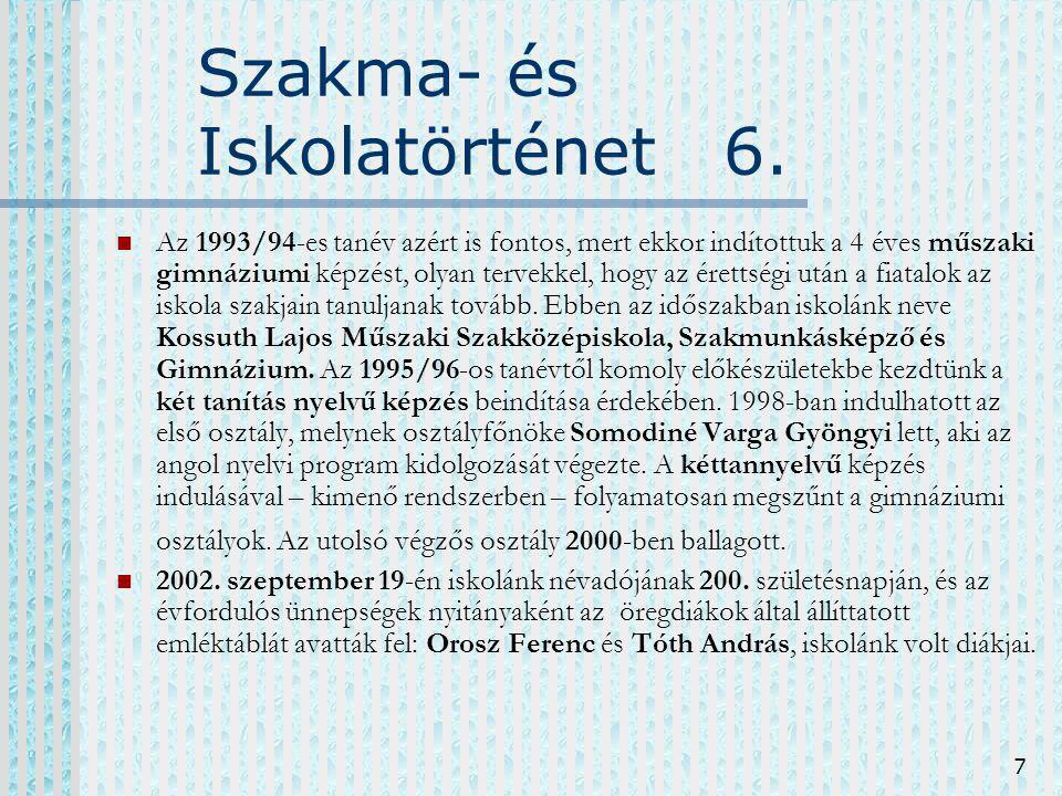 Szakma- és Iskolatörténet 6.
