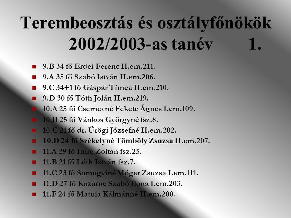 Terembeosztás és osztályfőnökök 2002/2003-as tanév 1.