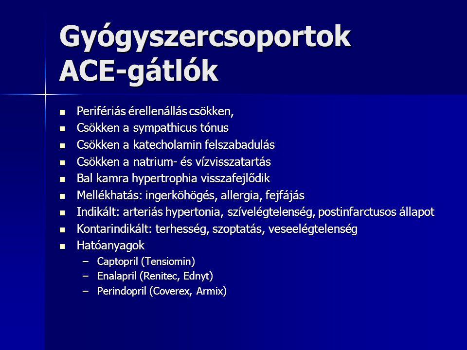 Gyógyszercsoportok ACE-gátlók