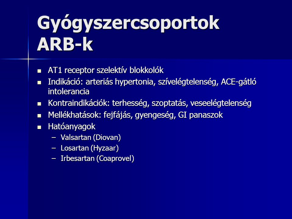 Gyógyszercsoportok ARB-k