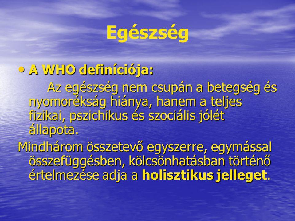 Egészség A WHO definíciója: