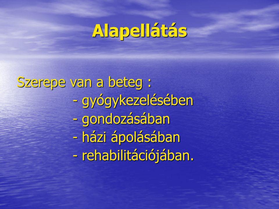 Alapellátás Szerepe van a beteg : - gyógykezelésében - gondozásában