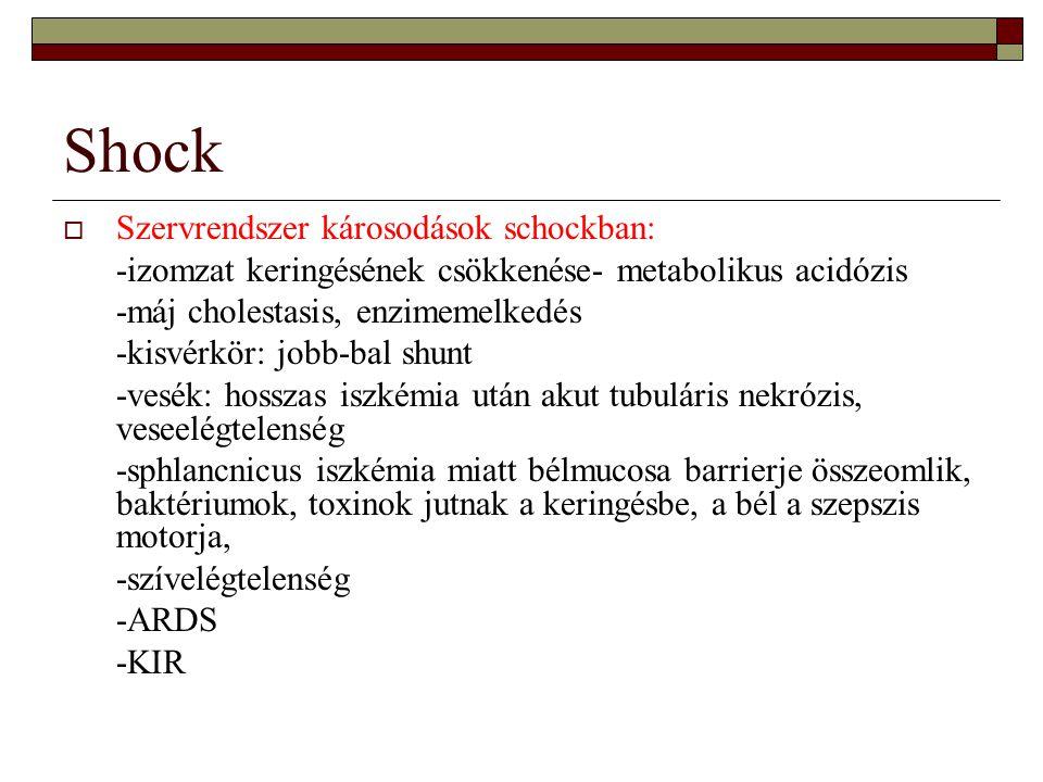 Shock Szervrendszer károsodások schockban: