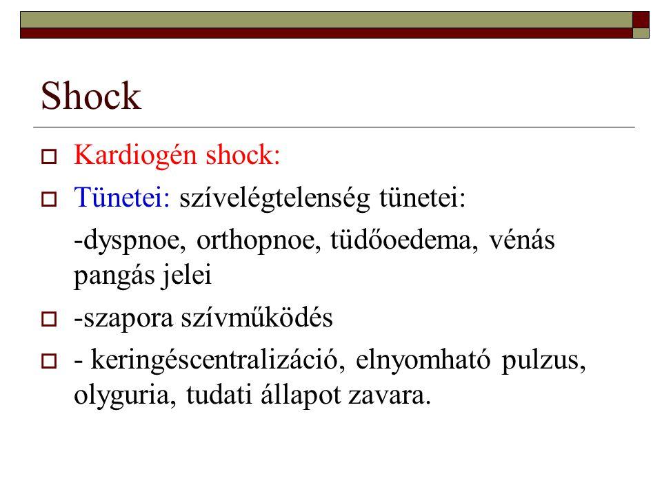 Shock Kardiogén shock: Tünetei: szívelégtelenség tünetei: