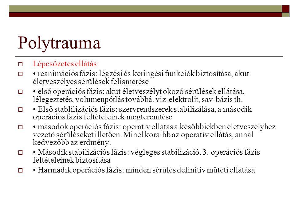 Polytrauma Lépcsőzetes ellátás: