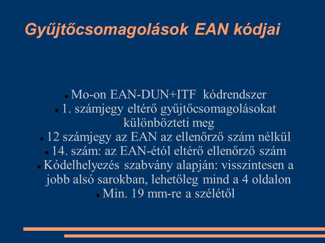 Gyűjtőcsomagolások EAN kódjai