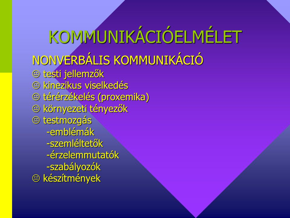 KOMMUNIKÁCIÓELMÉLET NONVERBÁLIS KOMMUNIKÁCIÓ  testi jellemzők