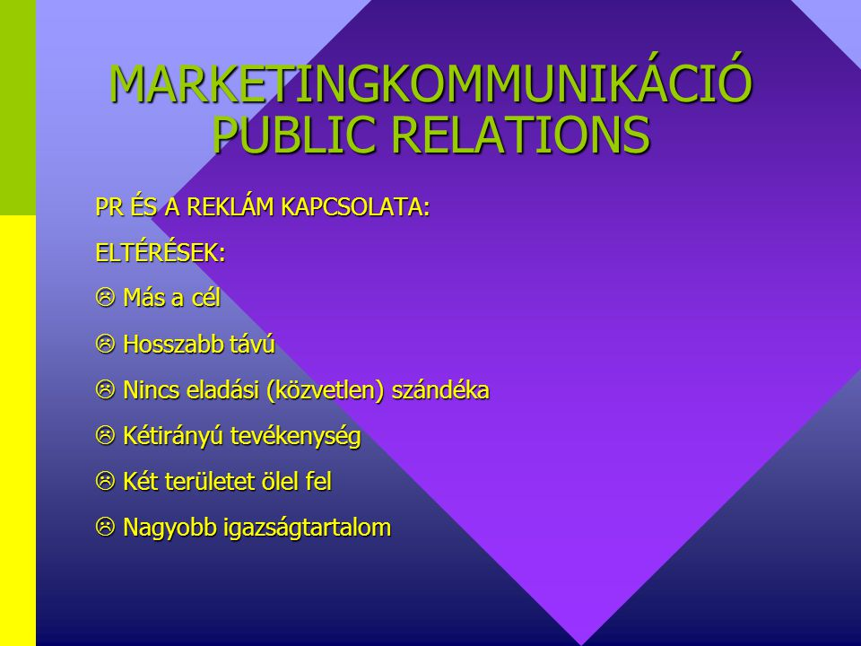 MARKETINGKOMMUNIKÁCIÓ PUBLIC RELATIONS