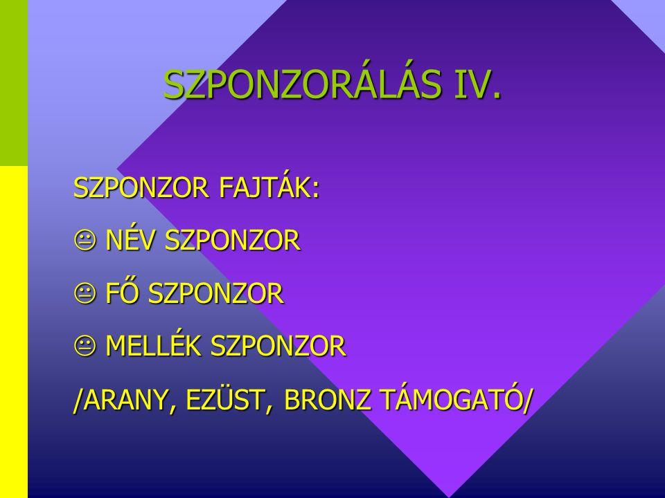 SZPONZORÁLÁS IV.