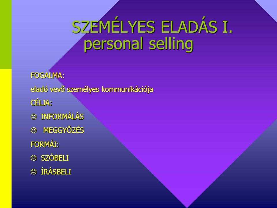 SZEMÉLYES ELADÁS I. personal selling