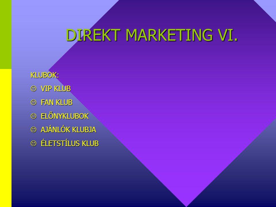 DIREKT MARKETING VI. KLUBOK:  VIP KLUB  FAN KLUB  ELŐNYKLUBOK  AJÁNLÓK KLUBJA  ÉLETSTÍLUS KLUB