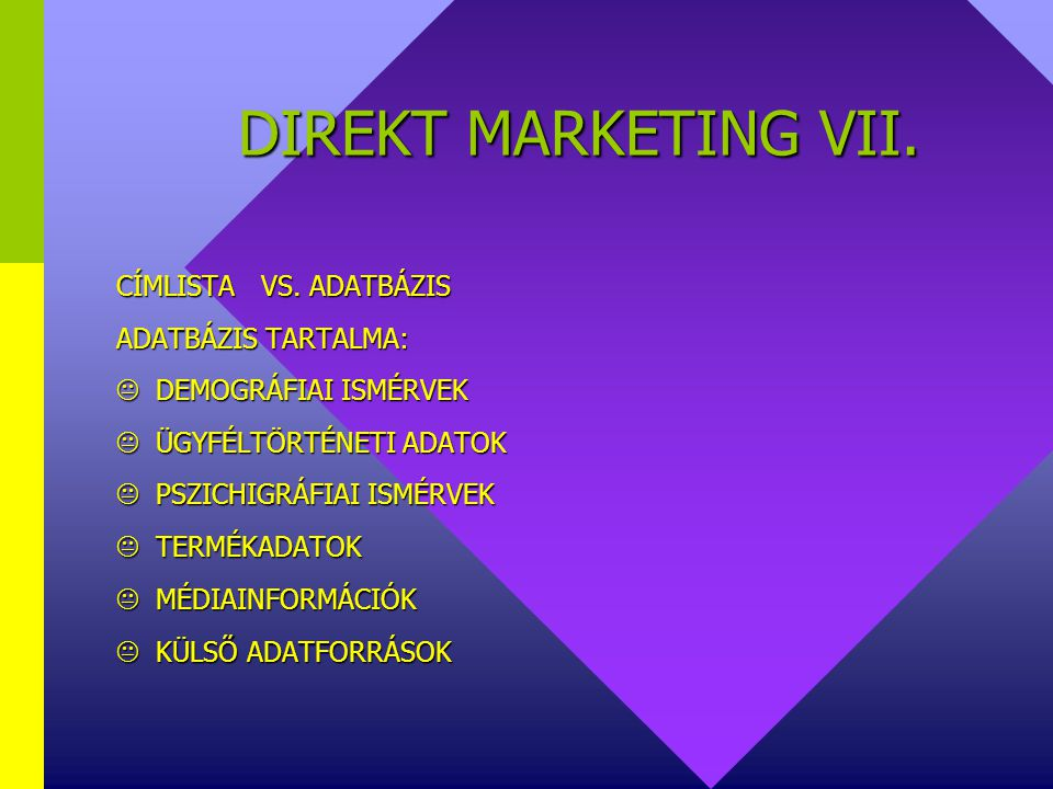 DIREKT MARKETING VII.