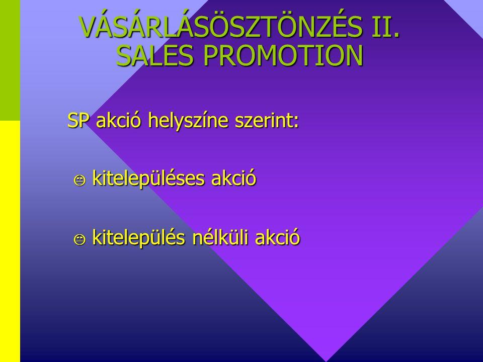 VÁSÁRLÁSÖSZTÖNZÉS II. SALES PROMOTION