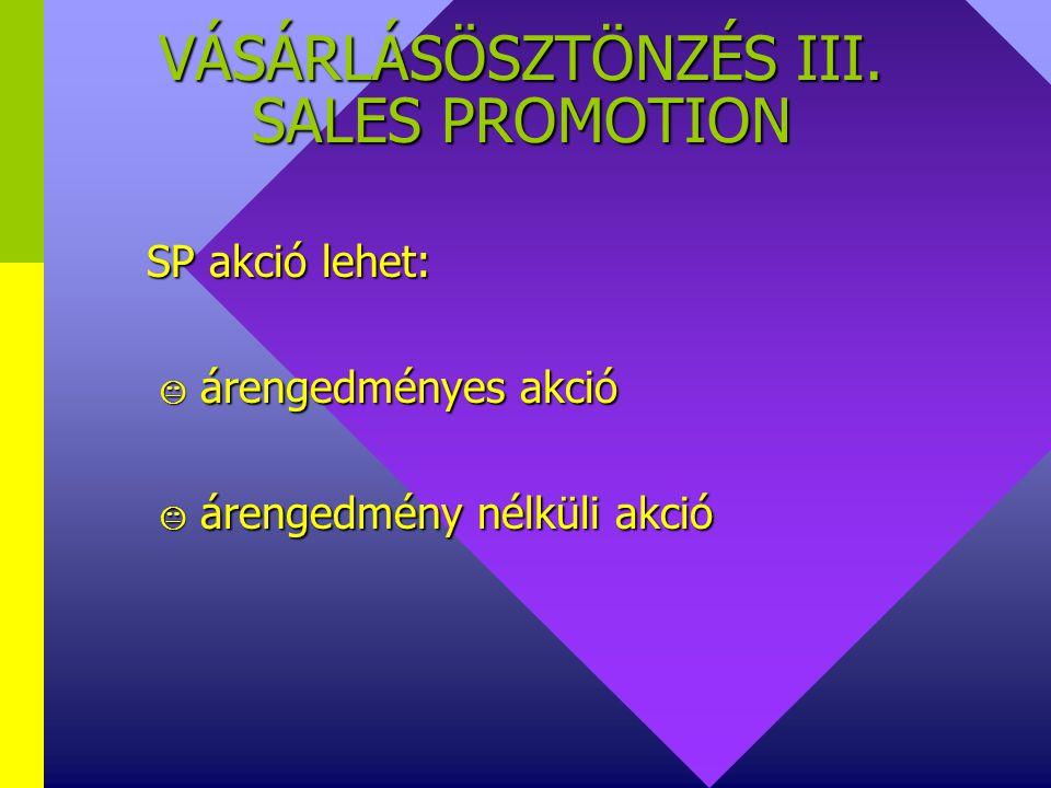 VÁSÁRLÁSÖSZTÖNZÉS III. SALES PROMOTION