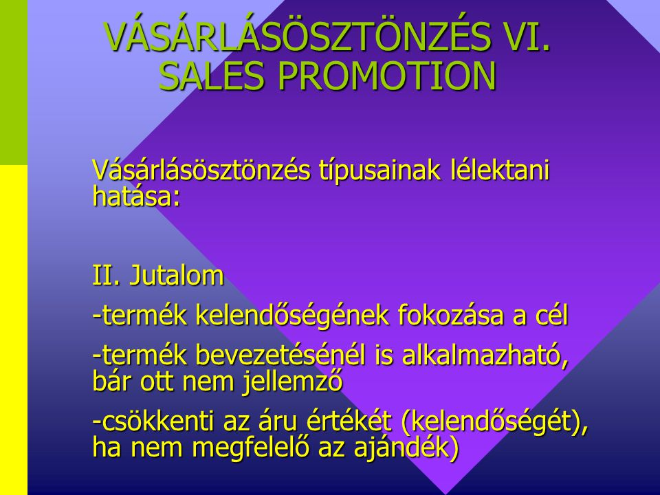VÁSÁRLÁSÖSZTÖNZÉS VI. SALES PROMOTION