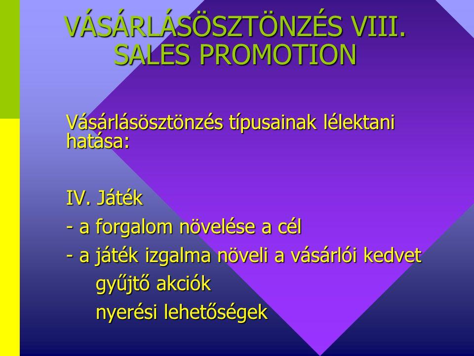 VÁSÁRLÁSÖSZTÖNZÉS VIII. SALES PROMOTION