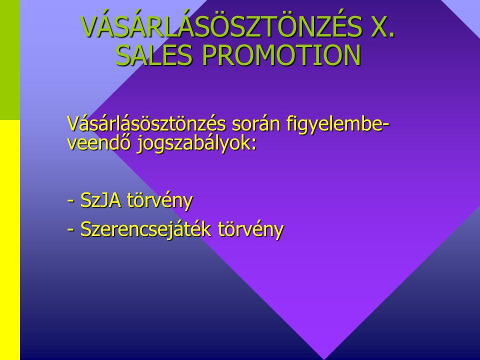 VÁSÁRLÁSÖSZTÖNZÉS X. SALES PROMOTION