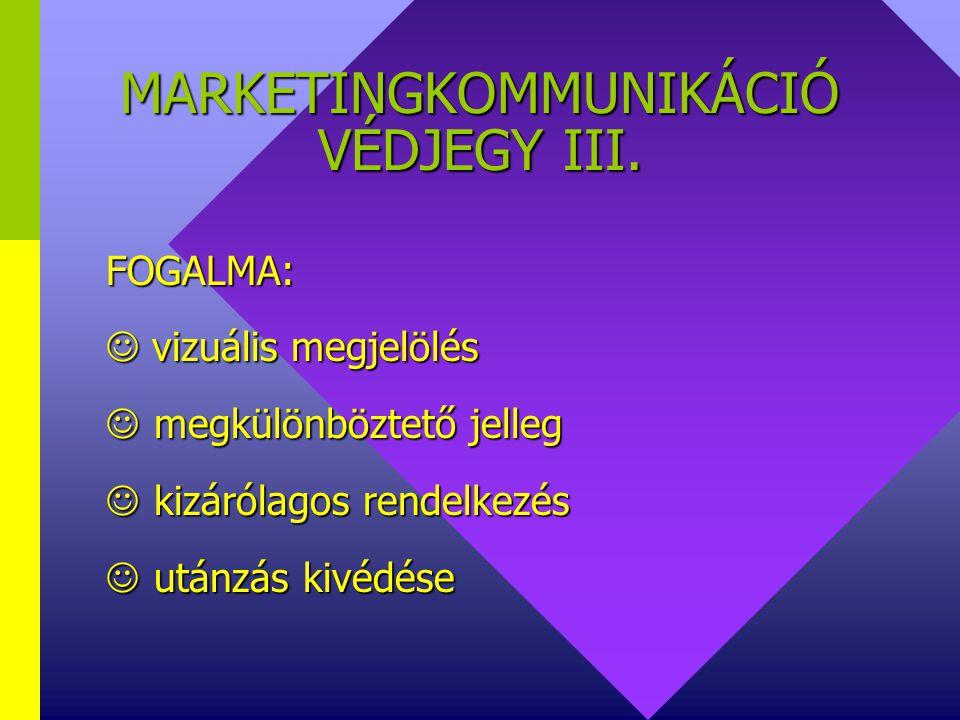 MARKETINGKOMMUNIKÁCIÓ VÉDJEGY III.