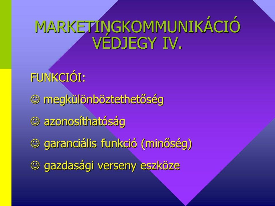 MARKETINGKOMMUNIKÁCIÓ VÉDJEGY IV.