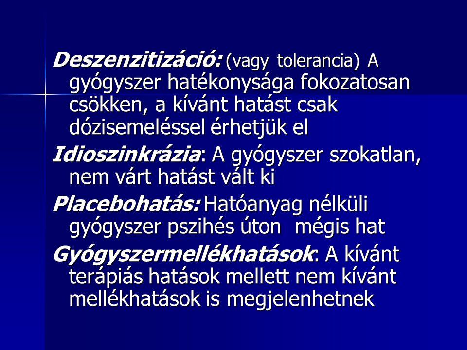Deszenzitizáció: (vagy tolerancia) A gyógyszer hatékonysága fokozatosan csökken, a kívánt hatást csak dózisemeléssel érhetjük el