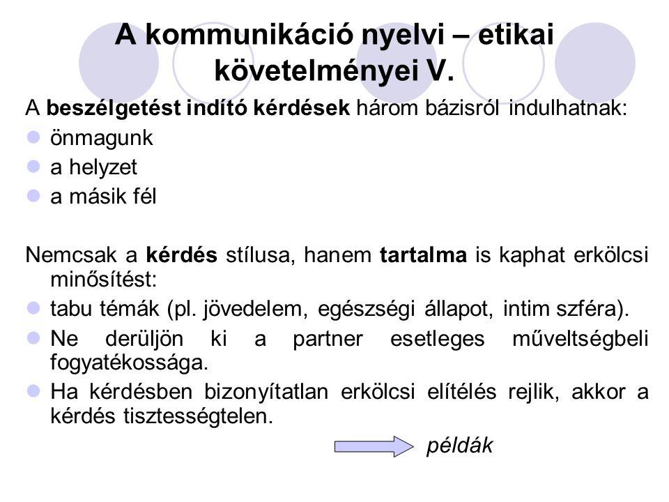 A kommunikáció nyelvi – etikai követelményei V.