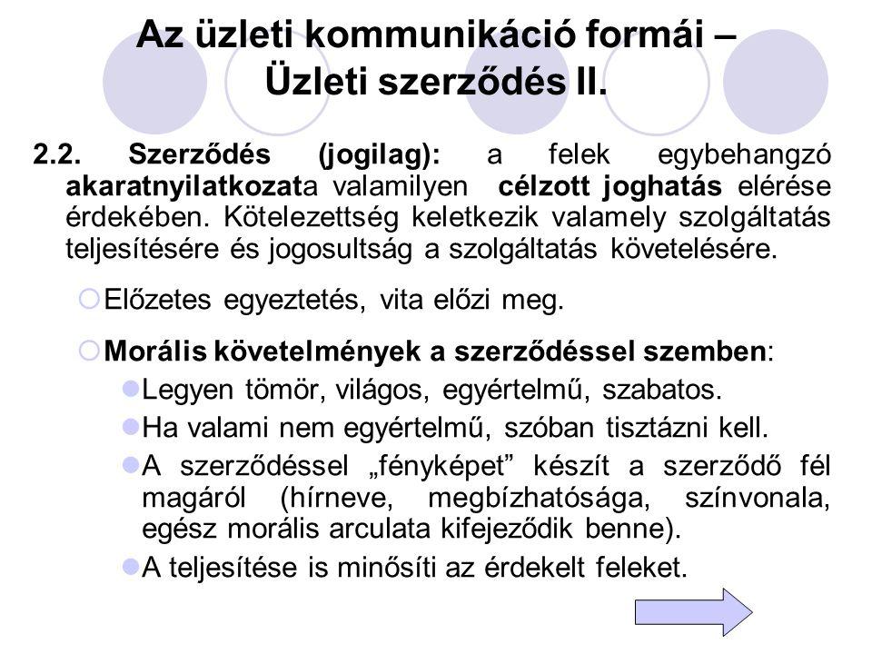 Az üzleti kommunikáció formái – Üzleti szerződés II.