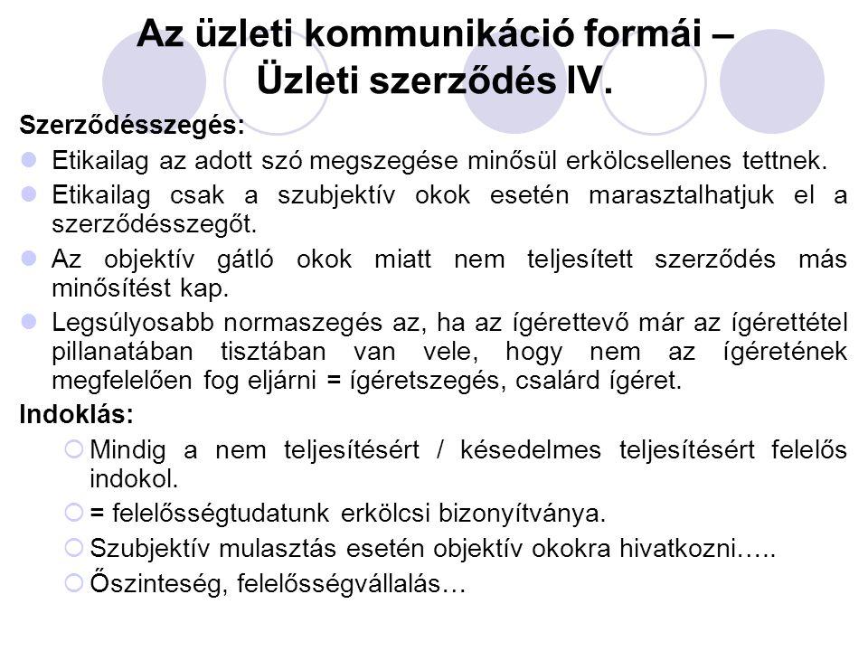 Az üzleti kommunikáció formái – Üzleti szerződés IV.