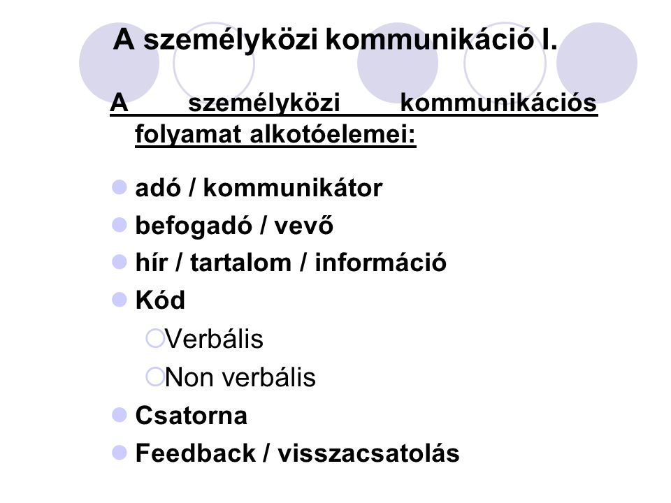 A személyközi kommunikáció I.