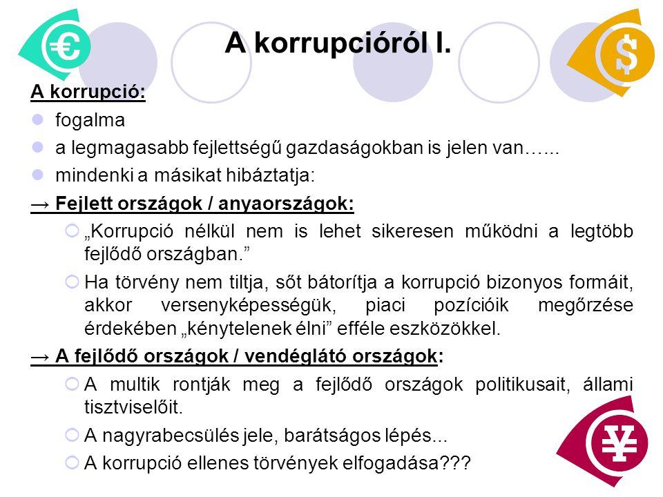 A korrupcióról I. A korrupció: fogalma