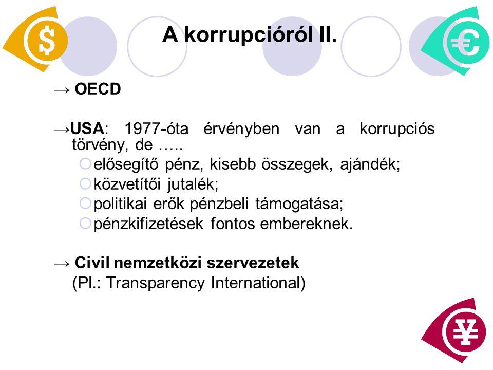 A korrupcióról II. → OECD