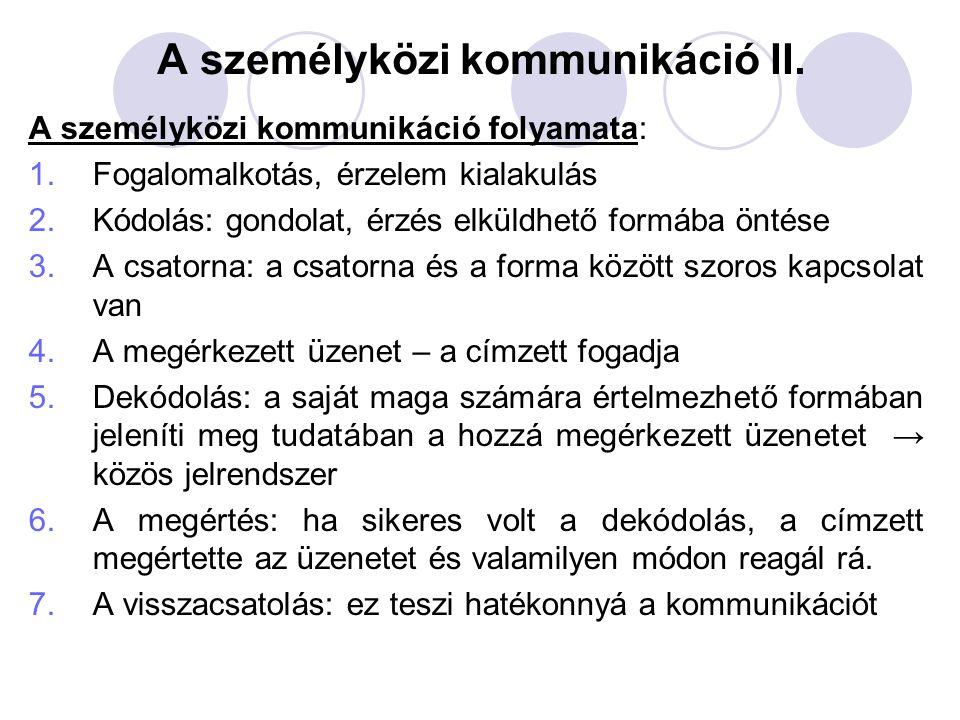 A személyközi kommunikáció II.
