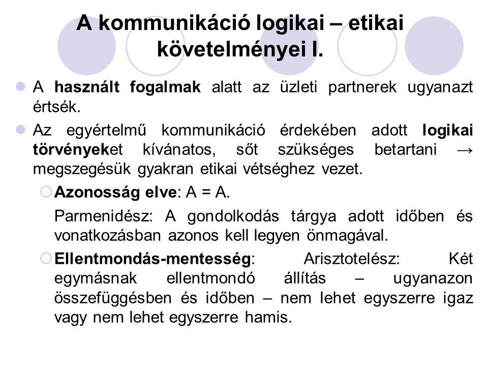 A kommunikáció logikai – etikai követelményei I.
