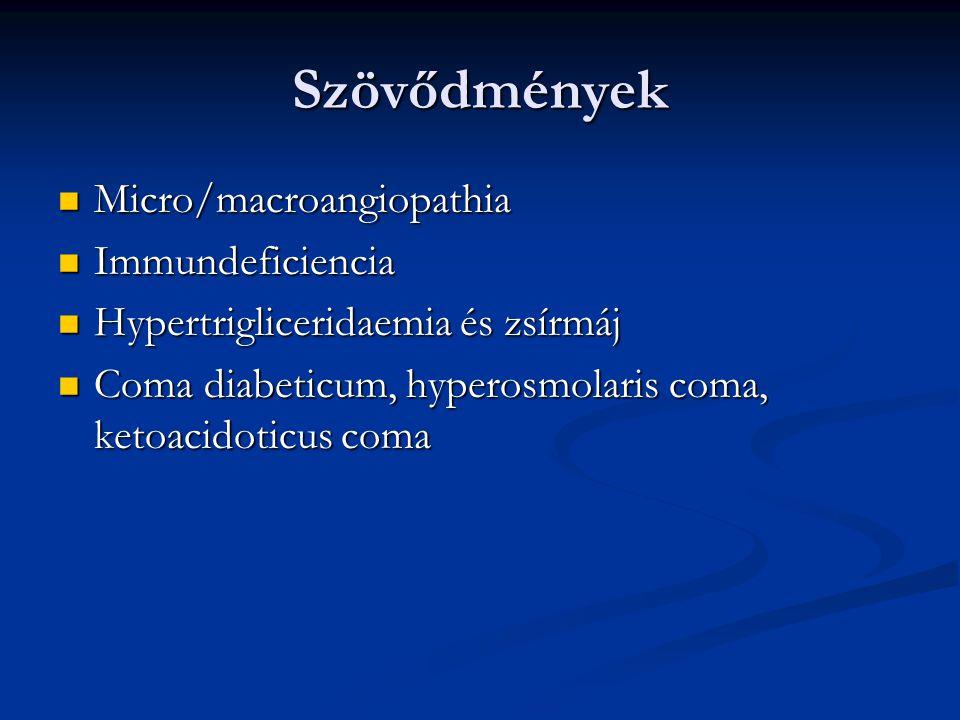 Szövődmények Micro/macroangiopathia Immundeficiencia